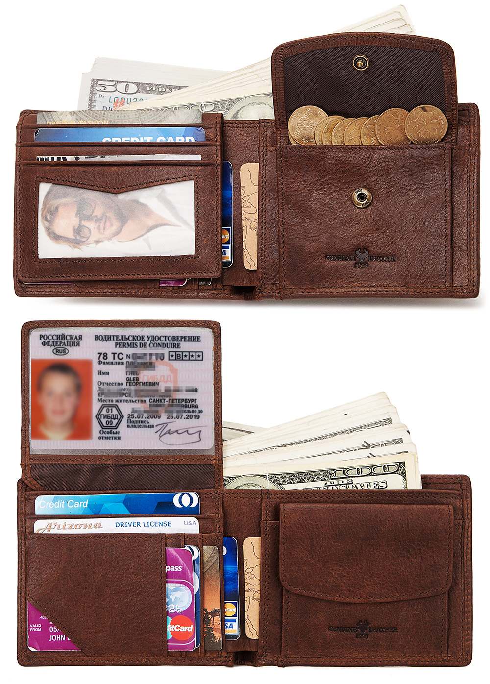 KAVIS 100% Genuine Cowhide Leather Men Wallet Male Cuzdan Walet Coin Purse Coin Pocket Men Purse  Small And Perse Mini Zipper