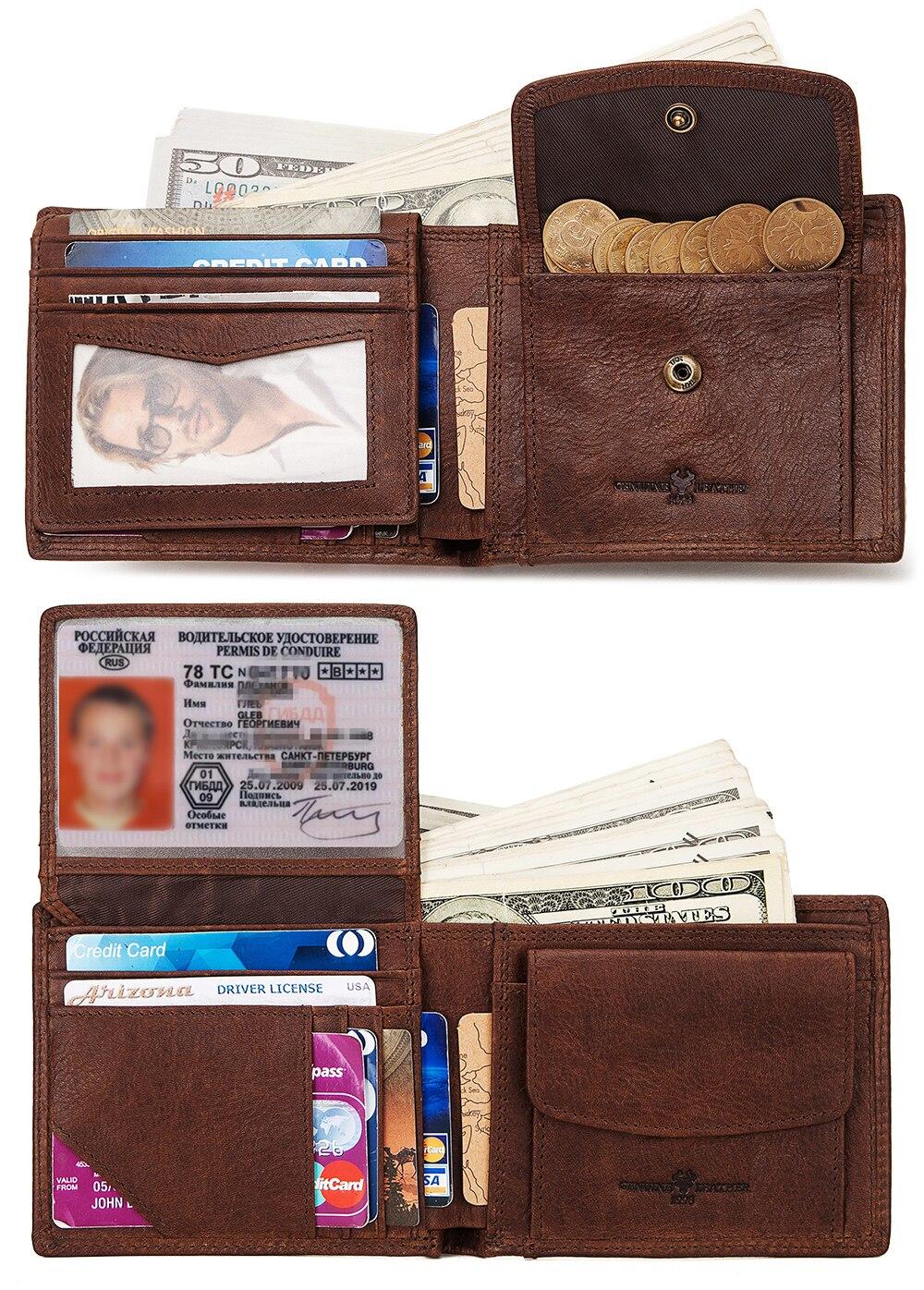 KAVIS-portefeuille en cuir 100% véritable pour hommes, portefeuille en cuir de vachette véritable, porte-monnaie, poche, Mini fermeture éclair