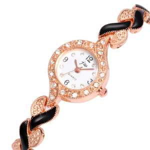 Ladies Dress Watches Gift Rhinestone Quartz Fashion Lady Luxury Round Linked Strap Dial-Leaf