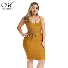 Maketina Summer 2019 Plus Size Bandage Dress Mini Elegant Yellow Sexy Woman Party Club Bodycon