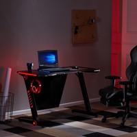 Gaming Desk Plus Office PC Computer Gamer Desks /RGB LED Lights/ Headphone Hook(Black) Gaming Desk Plus Office PC Computer