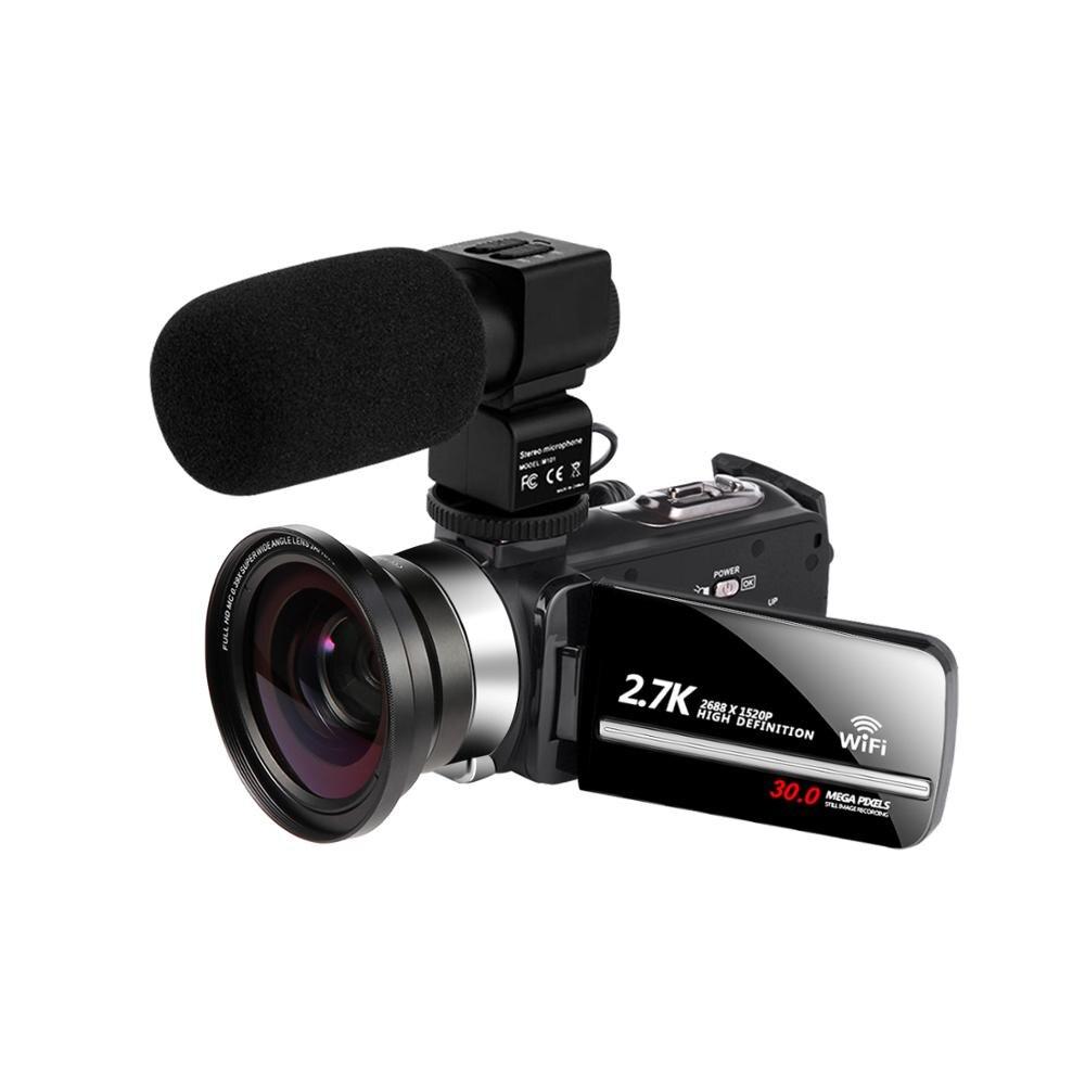 Videocámara WiFi 2,7 k Vlogging para Youbute pantalla táctil 30MP 16X Zoom Digital Handycam de fábrica Ultra cámara fotográfica 16MP Ultra-clear HD cámara Digital DVR 1080P Mini HD cámara de vídeo preciso cámara grabadora DVR negro