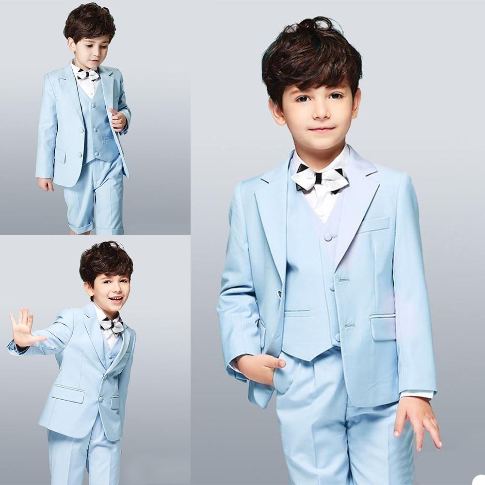 Boys' Attire Kids Suits Handsome Two-Button Back Split Clothing Set Custom Made 3 Pieces Wedding Suits (Jacket+Shorts+Vest)