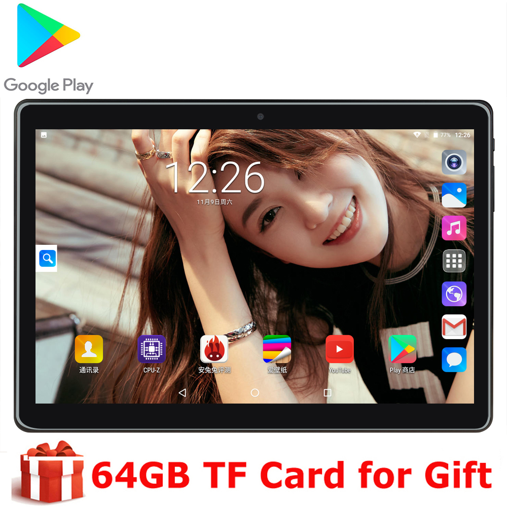 New 10 Inch Android 9.0 Tablet Pc Quad Core Google Play 3G Dual SIM Call Tablets GPS 2.5D Tempered Glass WIFI With Free Gifts
