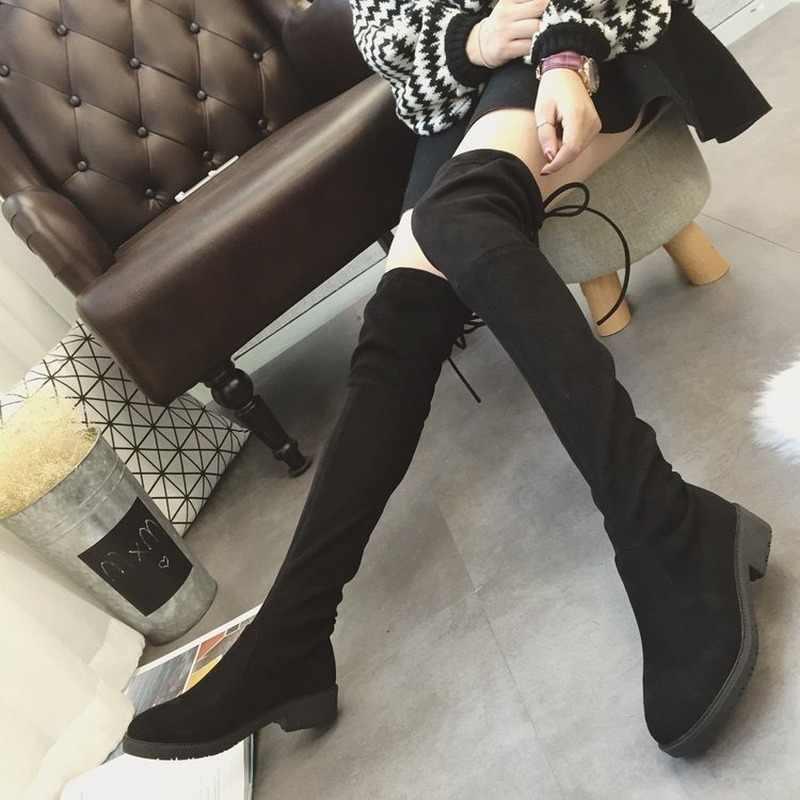 รองเท้าผู้หญิงฤดูใบไม้ร่วงฤดูหนาวสุภาพสตรีแบนรองเท้าด้านล่างรองเท้าเข่าต้นขาสูงหนังนิ่มสีดำ BootsBlack Botas Mujer