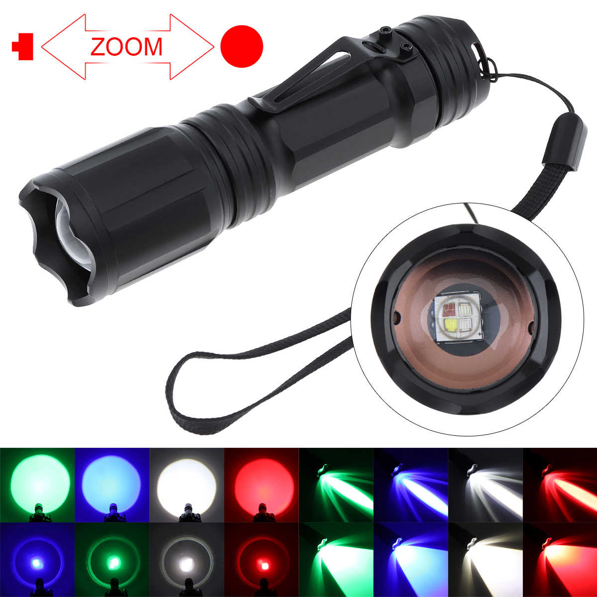 RGBW Tactical Flashlight Red Green Blue White LED 4 in 1 Hunting Light Torch Set