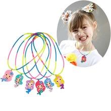 6 piezas suministros de fiesta de sirenas collares de sirena decoraciones de fiesta de cumpleaños niños niñas regalo Baby Shower fiesta favores