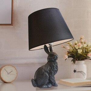 Nowoczesne królik lampa stołowa kreatywny żywica zwierząt biurko lampa dla dzieci pokój dzienny pokój obok lampy kreskówki kostium tabeli u nas państwo lampy