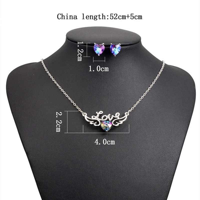 Banyak Warna Perhiasan Set Hati Berlian Imitasi Kristal Kalung Anting-Anting Kupu-kupu Cantik Liontin Stud Set Wanita Perempuan Hadiah Natal