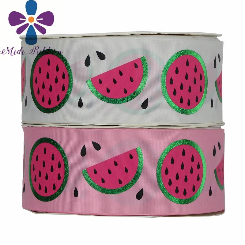 "3 yards Watermelon zebra printed 1/"" grosgrain ribbon by the yard DIY bow"