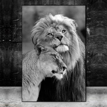 Lion Couple Black And White Picture Printed on Canvas 2