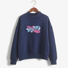 Kpop hoodies feminino outono hoodie inverno harry estilos tratar pessoas com bondade letras impressão moletom transporte da gota