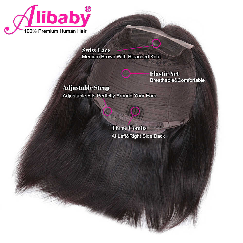 Alibaby Peruvian Lace Front Wigs Pixie Cut Wig Bob Remy Natural Color 4x4 Lace Closure Wig Straight Human Hair Wigs 8-16 Inch