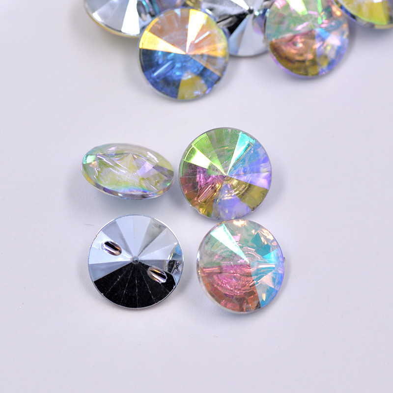 Round Set Imitation Diamante Button 13mm Crystal