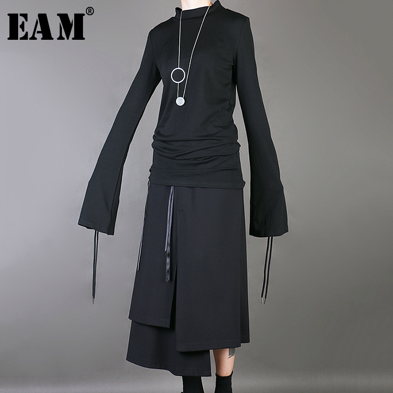 [EAM] 2020 New Sping Autumn Stand Collar Long Sleeve Black Ribbon Split Joint Brief Loose T-shirt Women Fashion Tide JS857