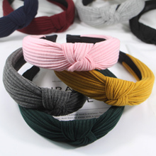 Solid Color Cloth Cross Hairband Womens stripe Headband Twist Bow Knot Tie Headwrap Hair Accessories