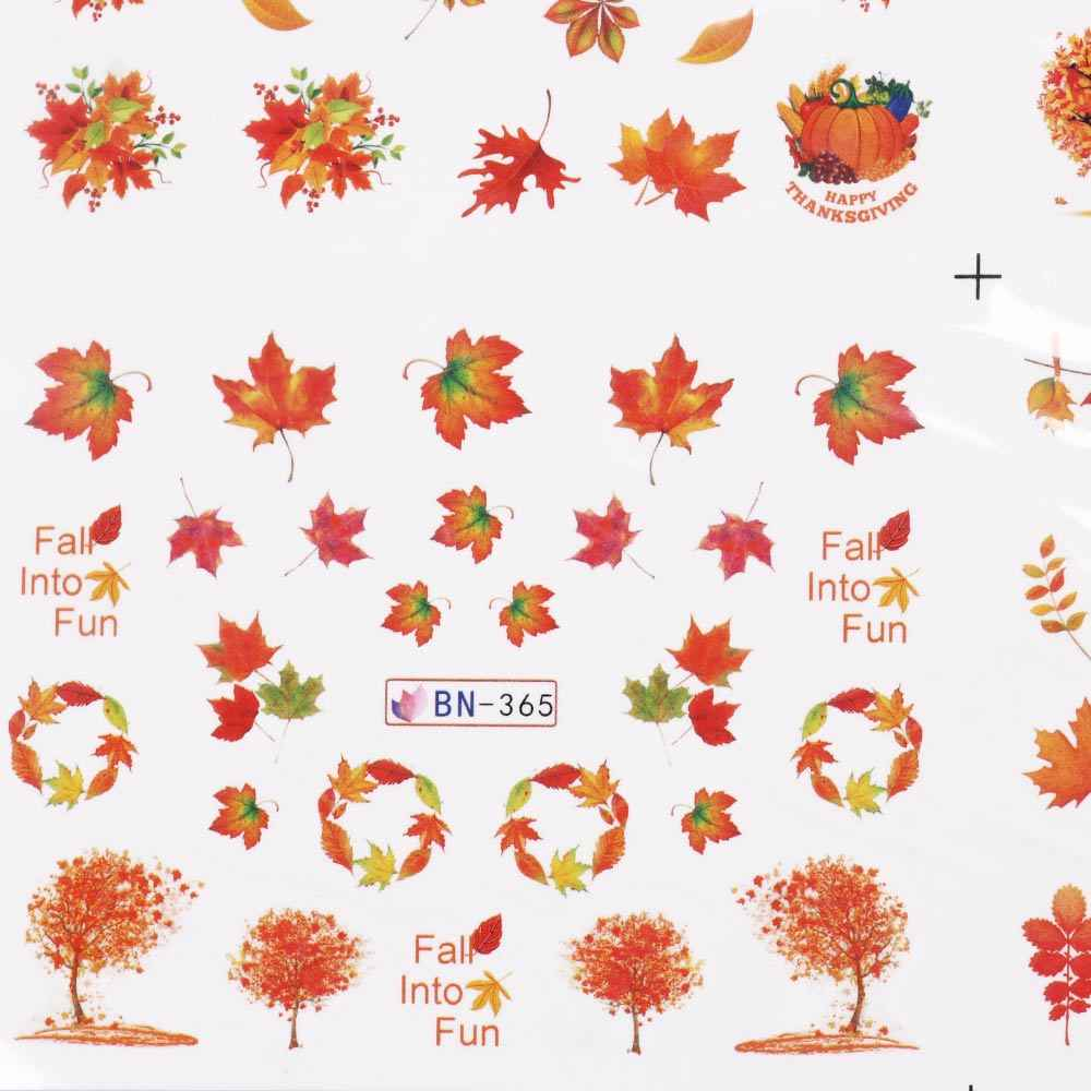 12pcs Mix ฤดูใบไม้ร่วงเล็บสติกเกอร์รูปลอกน้ำวันขอบคุณพระเจ้าสีเหลืองทอง Leaf ตุรกีลายน้ำ Slider ตกแต่งเล็บเคล็ดลับ