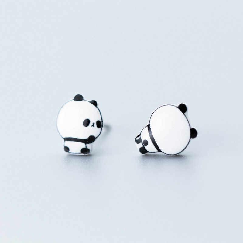 INZATT Plata de Ley 925 auténtica minimalista pendientes de Panda para fiesta de moda para mujer joyería fina Animal accesorios lindos