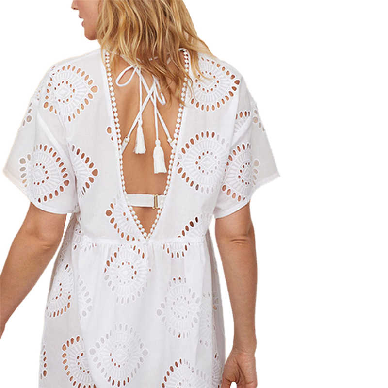 נשים שמלת נשים חוף תחרה סרוגה שמלות בגדי ים ביקיני כיסוי עד הולו מתוך חוף ללבוש חולצות גבירותיי שמלות קיצי