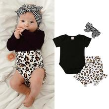 Одежда для новорожденных девочек с леопардовым принтом; топы; комбинезон; короткие штаны; летняя одежда; roupa menina; одежда для малышей; meisjes kleding
