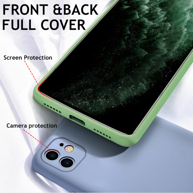 Official Liquid Silicone Case For iphone 11 Pro MAX 7 8 6 6s Plus X XR XS Max Full Lens Protective New Upgraded Soft Back Cover