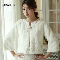 Faux Fur Wedding Jackets Long Sleeves Bride Winter Dress Top Warm Bridal Coat AX017