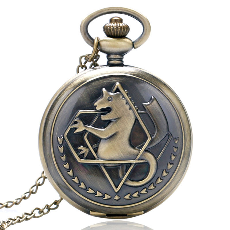 Fullmetal Alchemist Pocket Watch Cartoon Quartz Clock Hour Anime Relogio De Bolso Full Metal Alchemist Watch Boys Xmas Gift