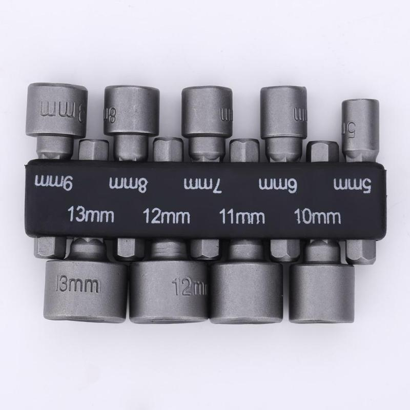 9pcs/set DIY Hex Socket Sleeve Nozzles Nut Driver Set Drill Bit Adapter For Woodworking Power Tools Power Tool 5mm-13mm