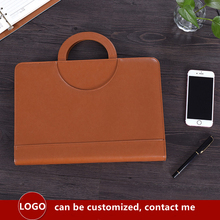 A4 Binder Folder PU Leather Portable Manager Folder Office Document Organizer Briefcase with Calculator Filing Products Padfolio