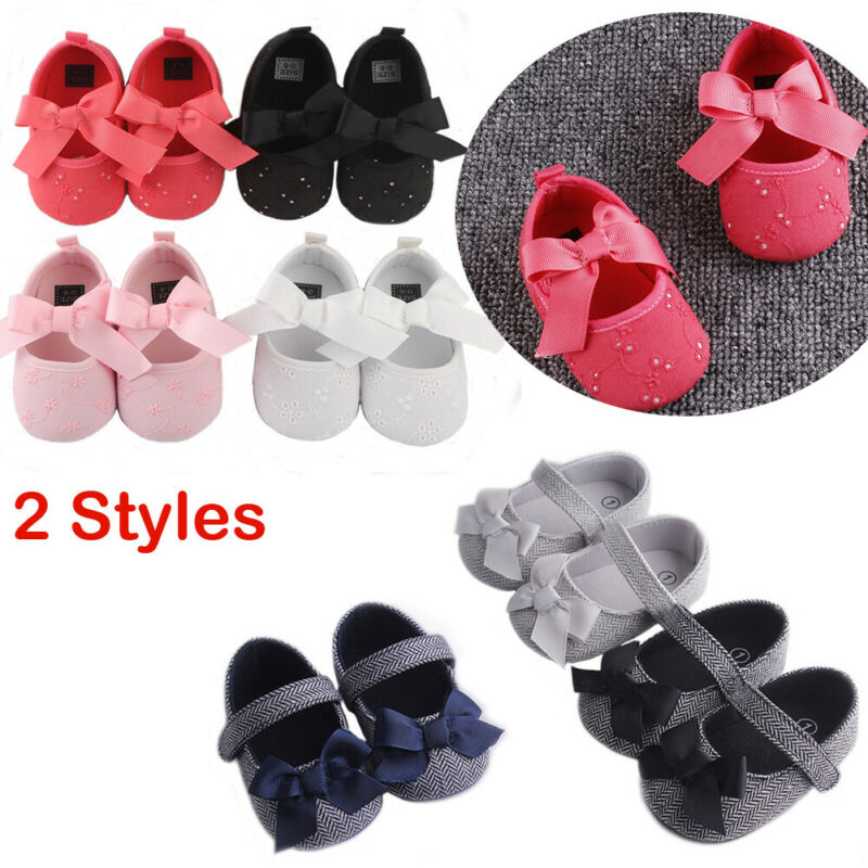 Cute Baby Girl Crib Shoes Newborn Bowknot Soft Sole  Anti-slip Prewalker Causal Sneakers Shoes 0-18 Months