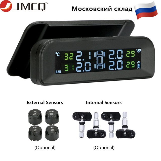 JMCQ TPMS Car Security Solar Charging Tire pressure monitor system Attached to glass Vibration start Colorful Pressure Alarm