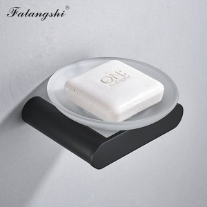 Image 5 - Falangshi Bad Hardware Set Schwarz Finish Hohe Qualität Handtuch Rack Handtuch Bar Wc Papier Halter Seifenschale Wand Montiert WB8846