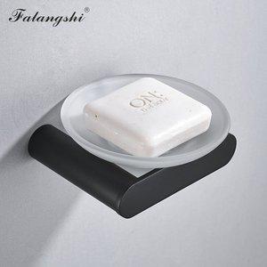 Image 5 - Falangshi Juego de accesorios de baño, toallero de alta calidad con acabado negro, soporte para papel higiénico, jabonera montada en la pared, WB8846