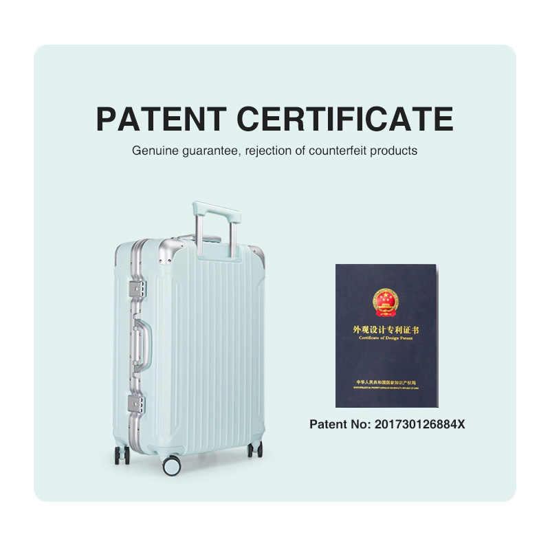 Hanke 2020 nuevo diseño de patente equipaje de aluminio marco viaje maleta Spinner ruedas TSA Lock Marcon Color