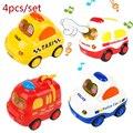 Kawaii Мини-автомобиль 4 шт./компл. мультяшный Тяговый автомобиль детские игрушки устойчивость к падению автомобиль свет музыка игрушки для де...