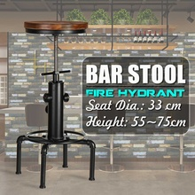 Vintage Metal Industrial Bar sillas plataforma giratoria de altura ajustable Pinewood superior cocina comedor silla tubo estilo taburete Bar sillas