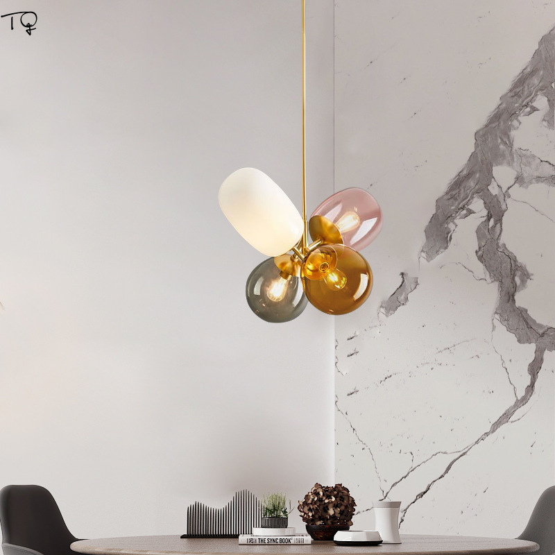 Nordic Ins Colorful Balloons Gold Glass Led Pedant Lights Lustre Living Room Dining Room Kids Room Light Bedroom Luminaire in Pendant Lights from Lights Lighting