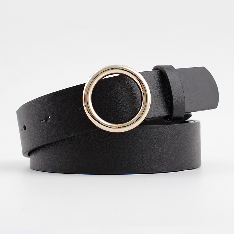 2020 New Women's Black White Brown Pink Wide Leather Belt Female Ladies Gold Metal Round Circle Belts For Women Trouser Dresses