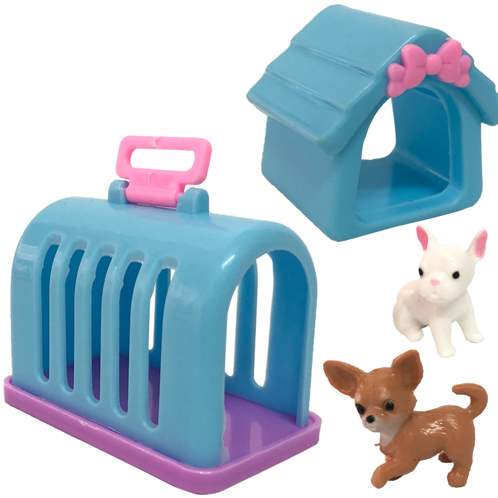 NK 4 Items/ Set Doll Accessories Fashion Mini Doll Pets Dog+Rabbit+House+Kennel For Barbie Doll Kelly Doll Playmate Toy 12X