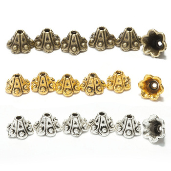 50Pcs Tibetan Silver Flower Bead Caps for Jewelry Making Metal Diy Spacer Beads Women Bracelet Necklace Earrings Accessories 30pcs mixed tibetan silver tone crown key animal charm pendants for bracelet necklace jewelry accessories diy jewelry making