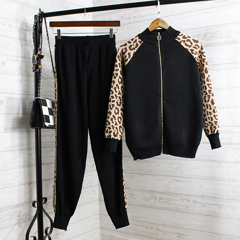 New Woman Tracksuit Clothes 2019 New Spring Autumn Leopard Patchwork Two Piece Set Women Long Pant Knitted Sportsuit Outfit