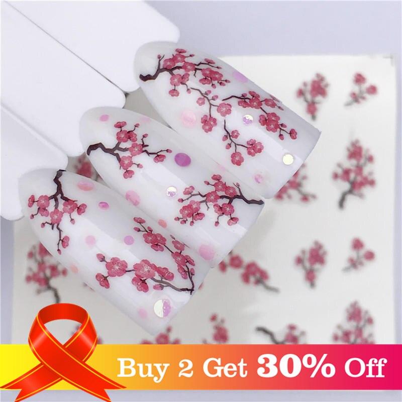 Lcj 1 folhas decalques de água do prego flor de ameixa flor padrão tranfer adesivo flamingo frutas arte do prego decoração