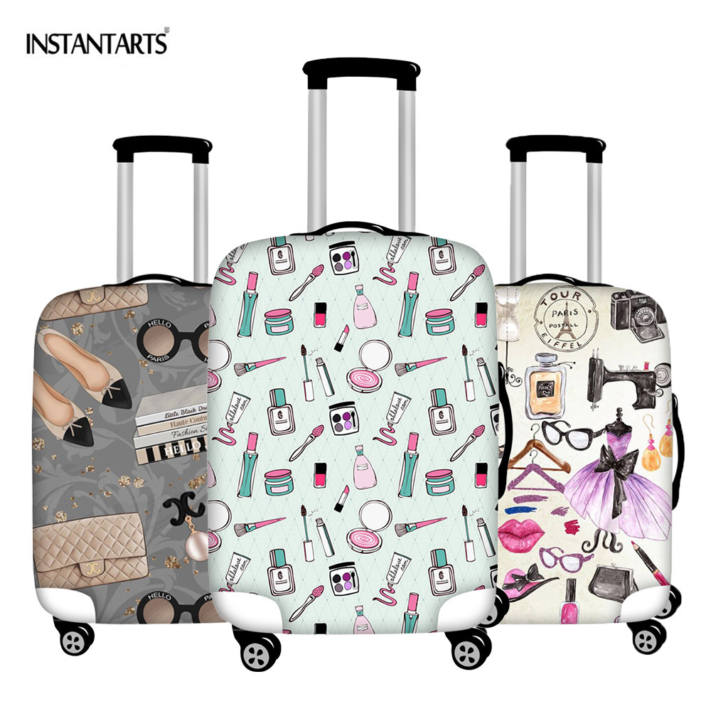 INSTANTARTS Luggage Protective Covers Cartoon Beauty Make Up Patterns Dust Rain Zipper Thick Travel Trolley Suitcase Cover