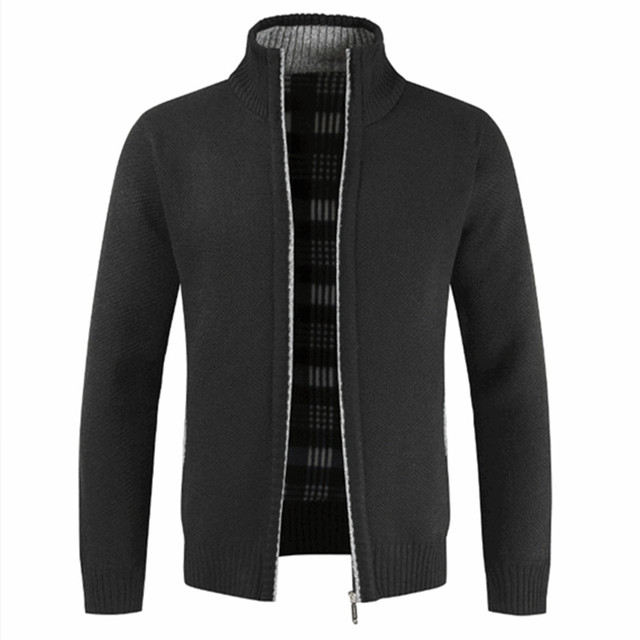 2019 Autumn Winter New Men's Jacket Slim Fit Stand Collar Zipper Jacket Men Solid Cotton Thick Warm Jacket Men
