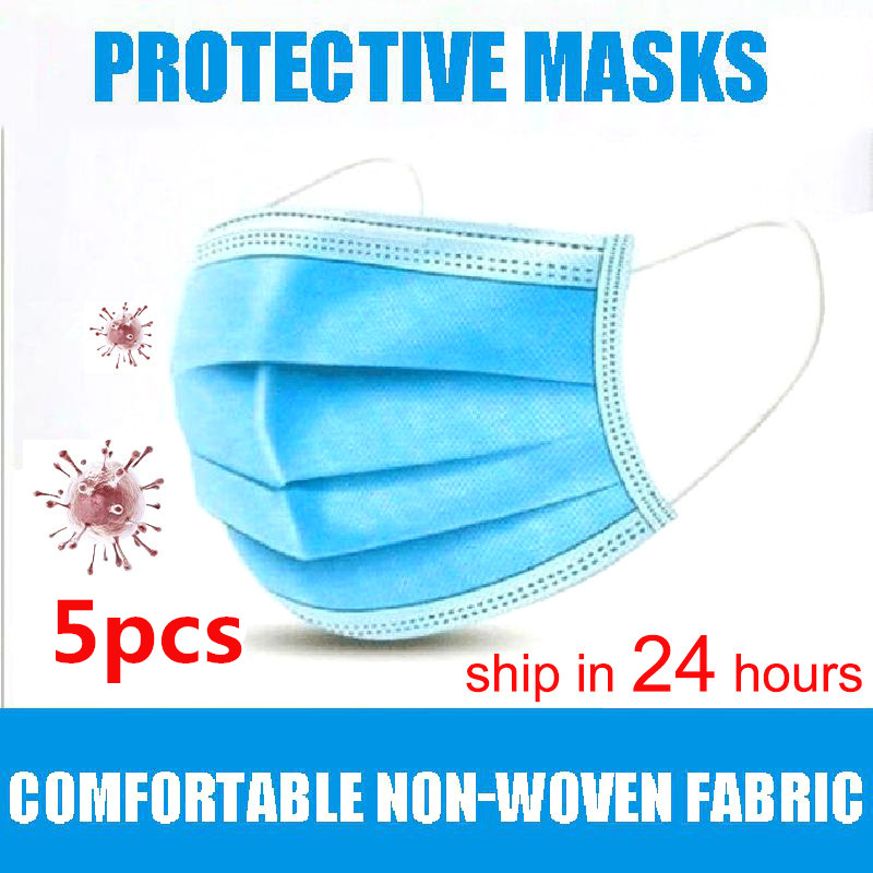 CC Face Mask 5pcs Mouth Mask Disposable Breathable Mascherine 3 Layer Non Wove Elastic Masque Antibacterial Maske Fast Shipping