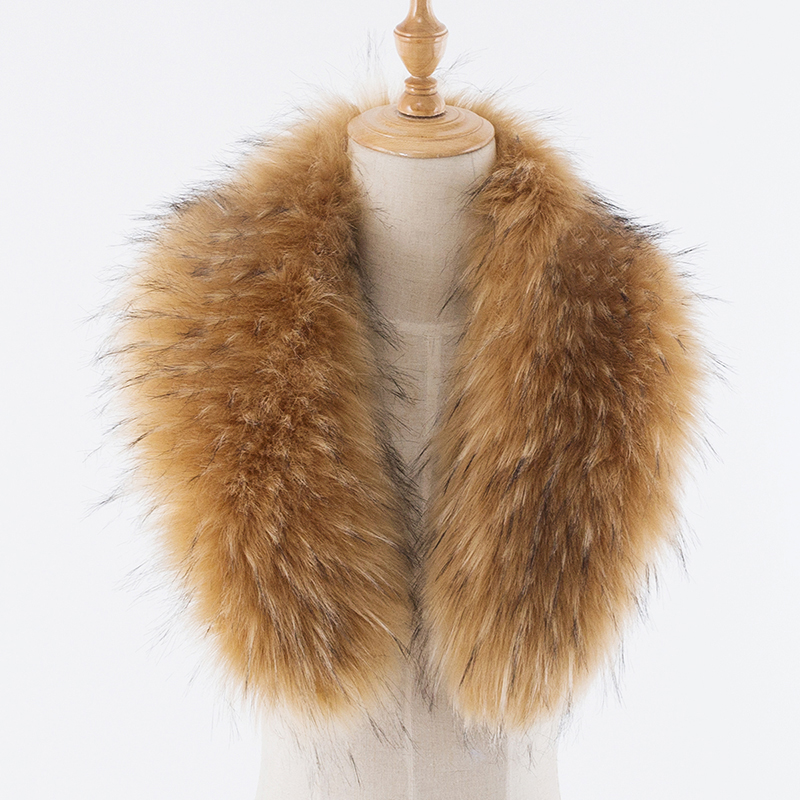 Scarf Imitation Fox Fur Fake Collar Solid Color Plush Collar Down Jacket Cap Fake Collar Scarf Black Yellow Jacquard 60-90cm::