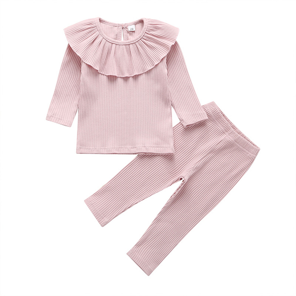Autumn Toddler Baby Girl Clothes Knitted Ruffle Tops T-Shirt Leggings Pants Outfits pajamas 1