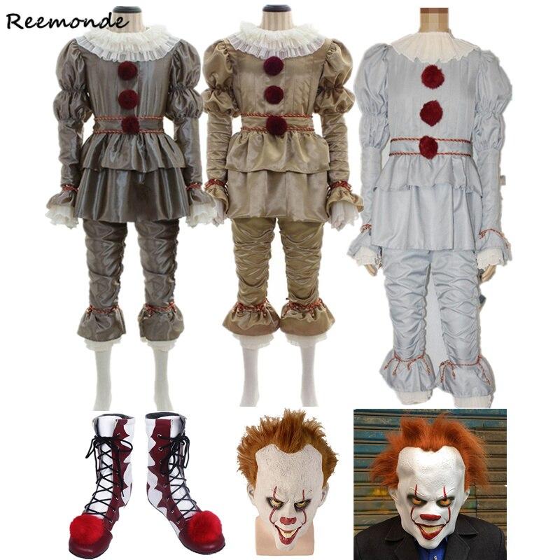 영화 Stephen King's It Pennywise 코스프레 의상 마스크 Pennywise Clown 무서운 조커 의상 세트 할로윈 의상 성인