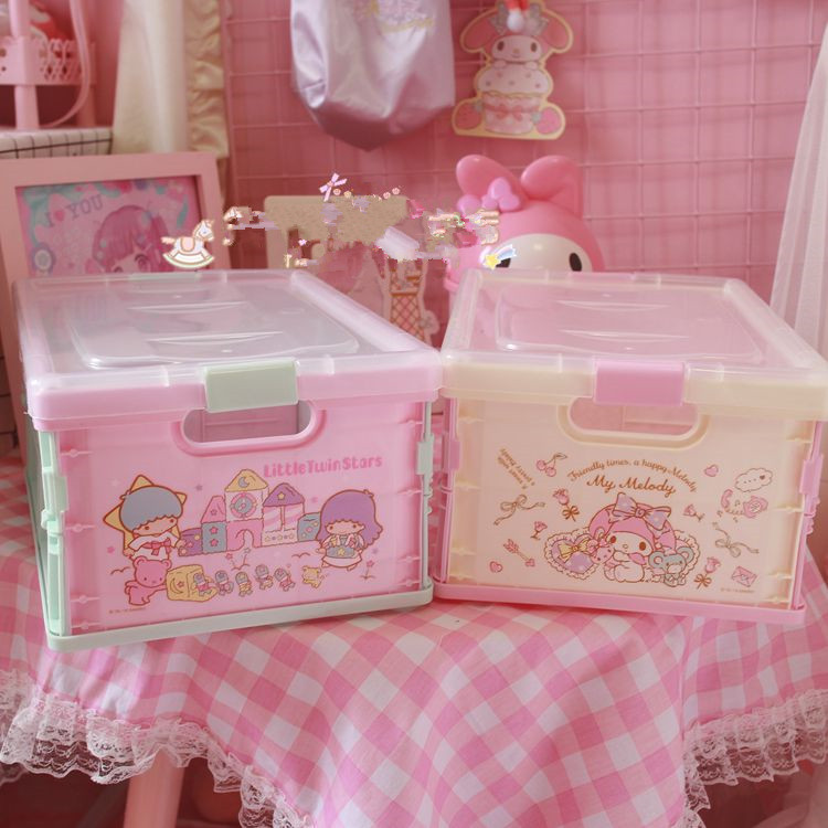 My Melody Little Twin Stars Cute Desktop Cosmetic Storage Box Bin Fashion Cartoon Anime Home Beauty Case Makeup Pouch For Girls