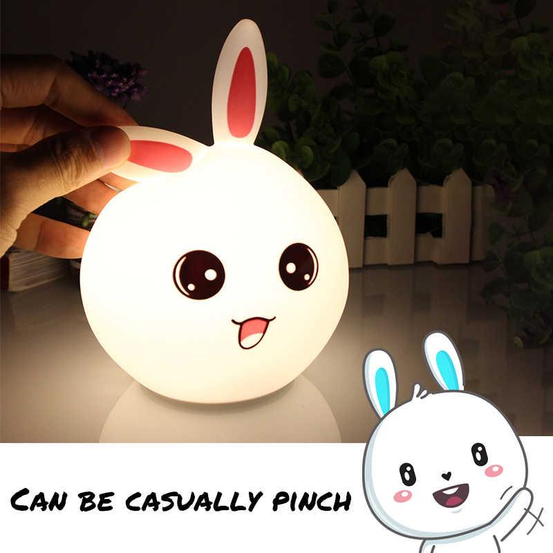 Lámpara LED de silicona con Sensor táctil y luz nocturna USB, lámpara LED de dibujos animados para niños, bebés, regalo de cabecera, dormitorio, sala de estar